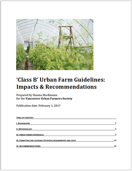 Cover of Class B Urban Farm Guidelines Report