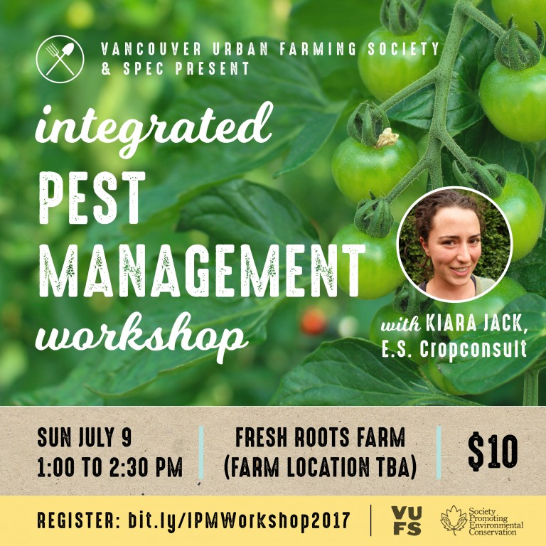 Integrated Pest Management workshop poster with a picture of green tomatoes on the vine and instructor Kiara Jack