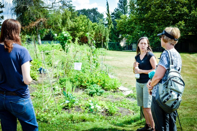 Karen introducing us to the educational plots, where people learn to grow food.