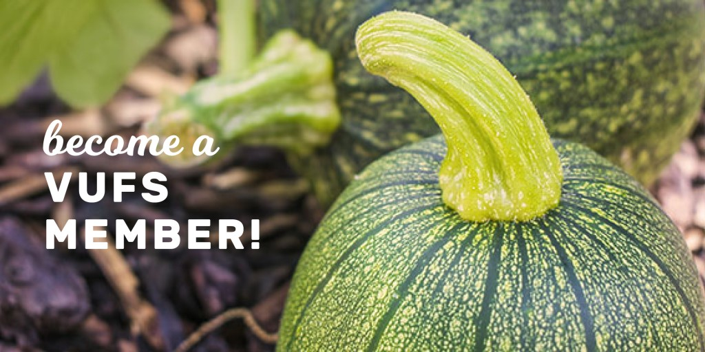 """""""Become a Member"""" poster with the picture of a green squash"""
